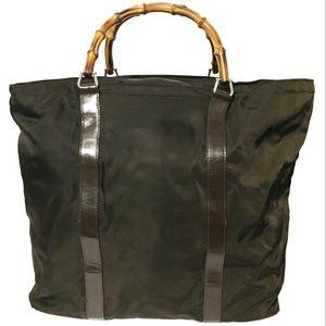Gucci brown nylon bamboo carryon travel tote bag